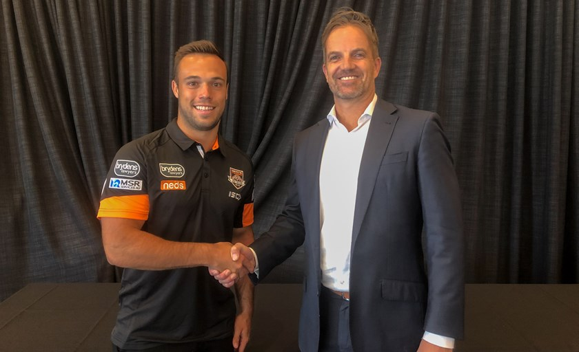 Wests Tigers halfback Luke Brooks and CEO Justin Pascoe.