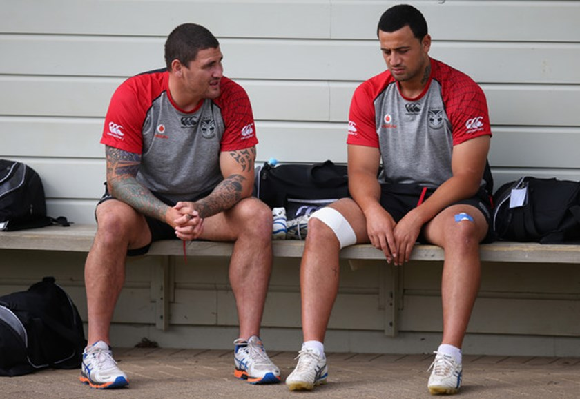 Russell Packer and Ben Matulino before training at the New Zealand Warriors, 2009.