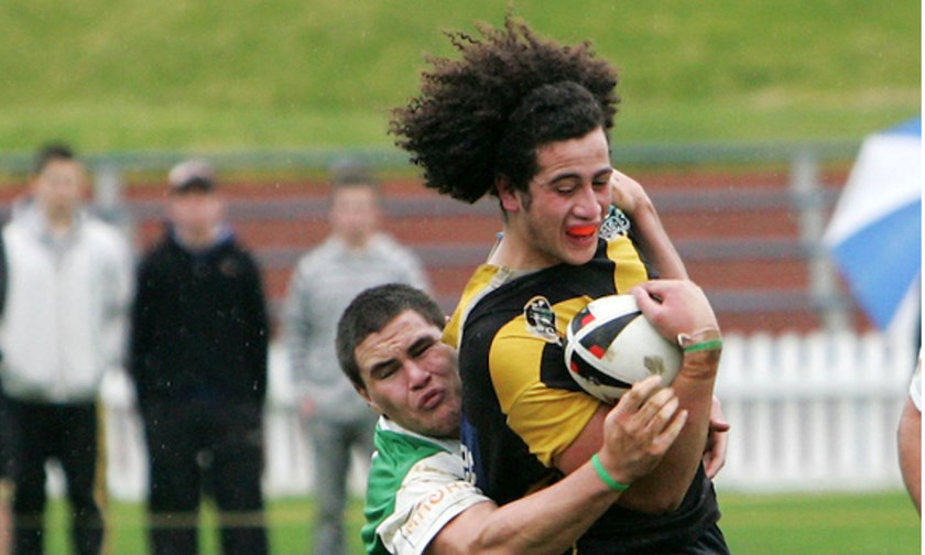 Russell Packer tackles Ben Matulino in the 2007 Bartercard Cup competition.