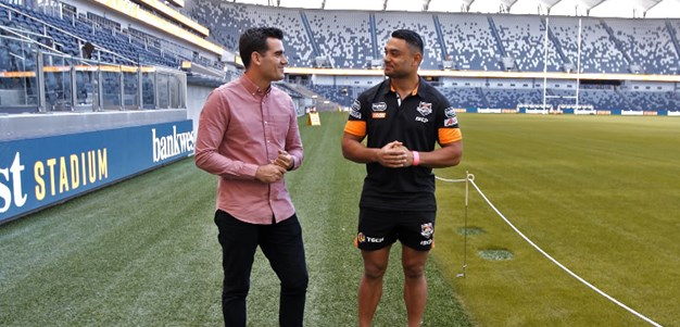 Nofoaluma looks for the best seat inside Bankwest Stadium