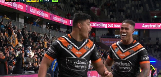 Talau has a double and the Wests Tigers close the gap to four