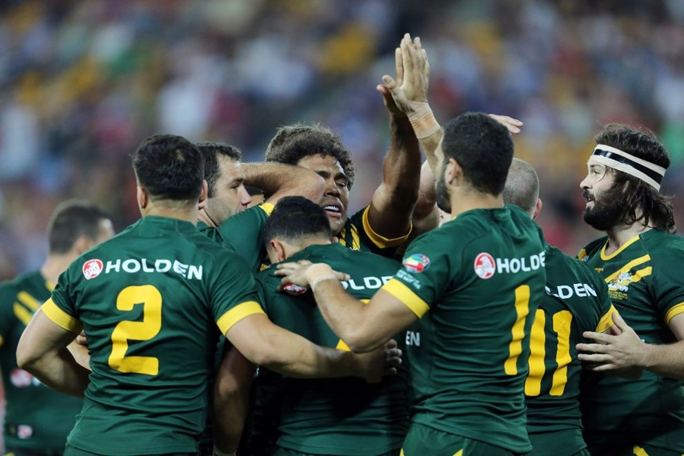 Digital Image Grant Trouville  © nrlphotos.com : Australia Celebrate after Beau Scott scores : NRL Rugby League - AUS v NZ , FOUR NATIONS 2014 Double Header Brisbane, Saturday 25th of Octber 2014.