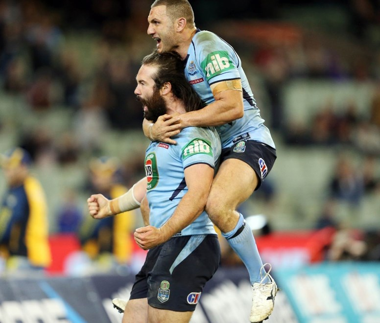 Aaron Woods and Robbie Farah celebrate Woods' try : Pic by Robb Cox ©NRLPhotos.com:  :Representative Rugby League, State of Origin at the Melbourne Cricket Ground, Wednesday 17th June 2015.
