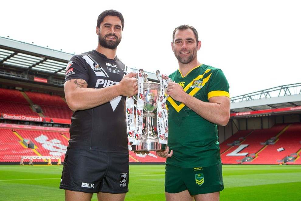 Picture by Alex Whitehead/SWpix.com - 24/10/16 - Rugby League - 2016 Ladbrokes Four Nations Launch - Anfield, Liverpool, England - New Zealand's Jesse Bromwich and Australia's Cameron Smith.