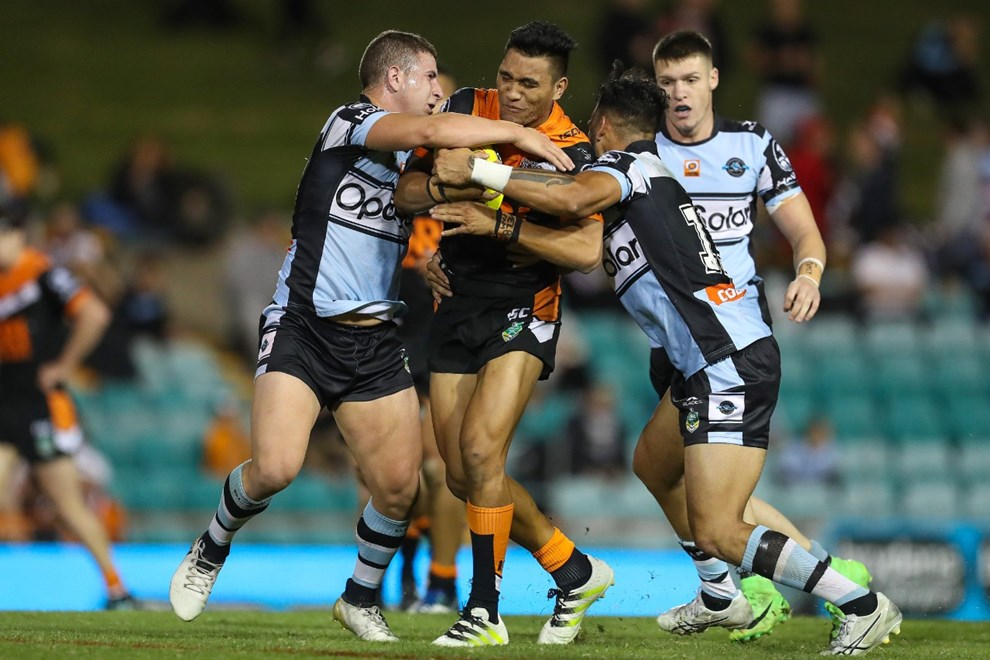 Competition - NYC. Round - Round 9. Teams - Wests Tigers v Cronulla Sharks. Date - 29th of April 2017. Venue - Leichhardt Oval