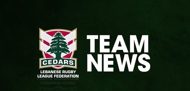 Lebanon name squad for RLWC quarterfinal
