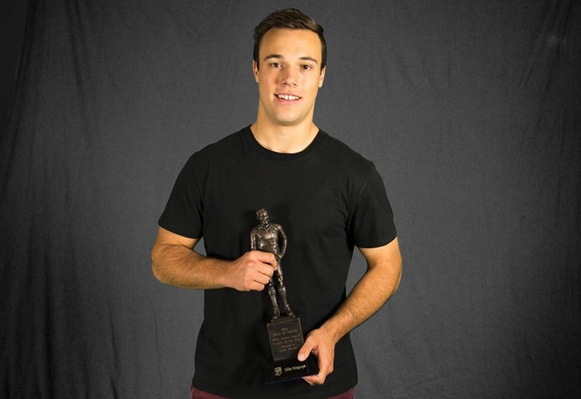 Luke Brooks with the 2014 Dally M Rookie of the Year Award.