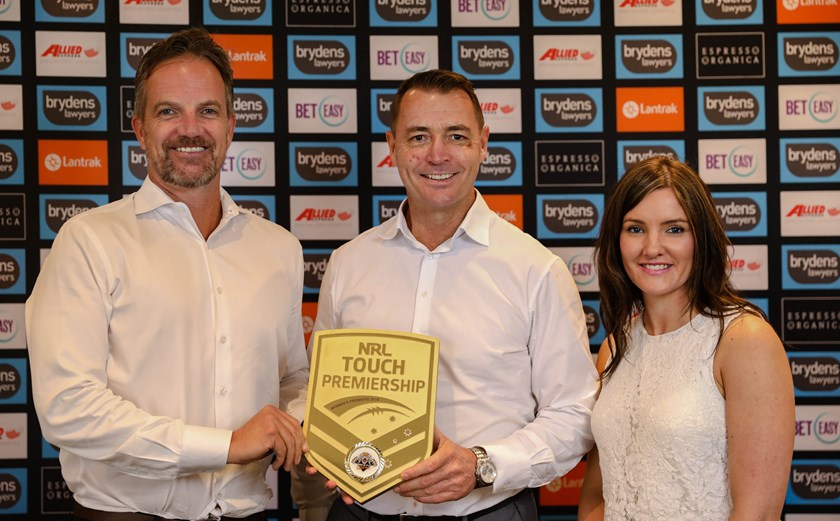 CEO Justin Pascoe, Touch Football Australia CEO Steve Mitchell and Female Strategy Manager Clair Schwencke