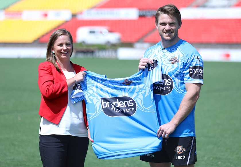 beyondblue representative Patrice O'Brien and Wests Tigers beyondblue ambassador Chris Lawrence.
