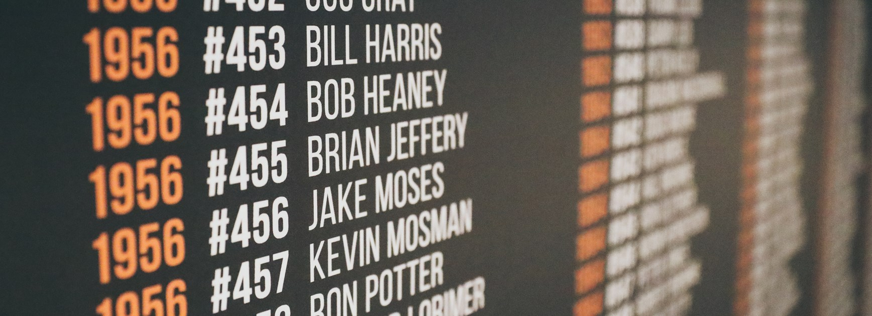 Balmain Tigers Player #454 Bob Heaney on the honours wall at Wests Tigers.