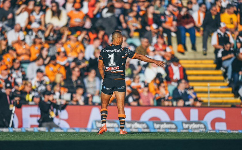 Wests Tigers fullback Moses Mbye in action at Leichhardt Oval