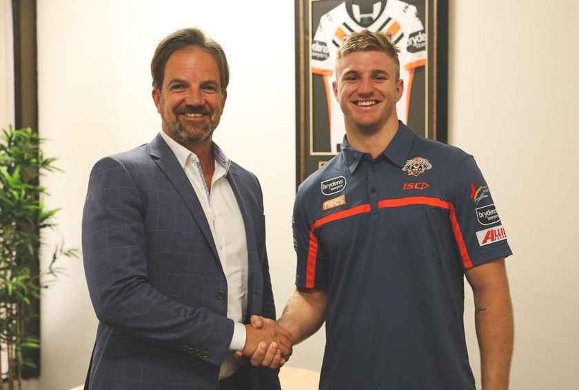 Wests Tigers CEO Justin Pascoe and forward Luke Garner