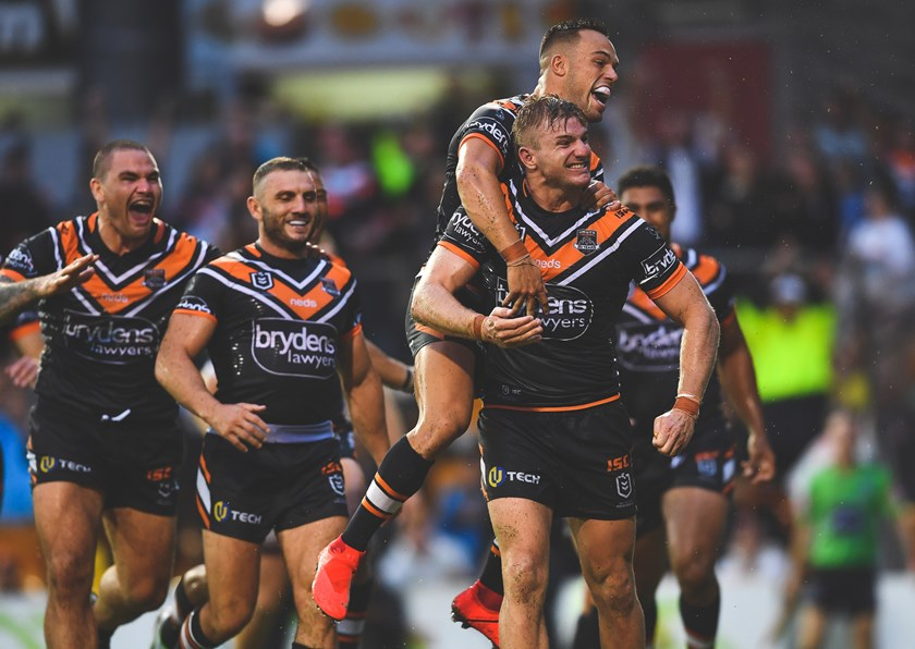 Wests Tigers forward Luke Garner celebrates a try against the Sea Eagles