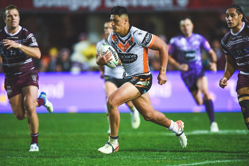 Tommy Talau on debut for Wests Tigers in 2019
