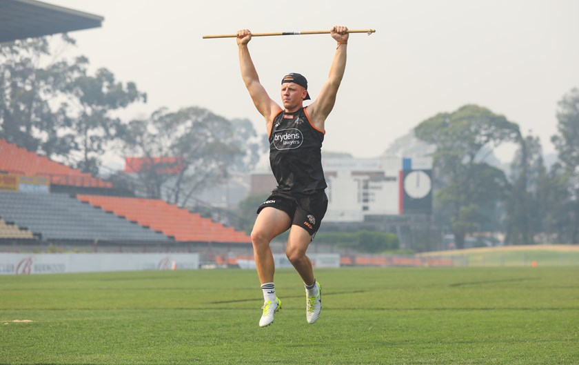 Alex Seyfarth at Wests Tigers training