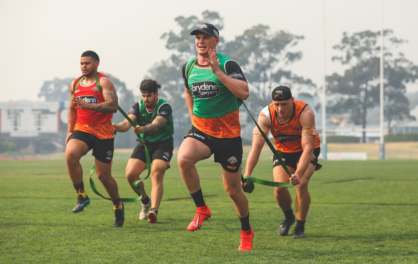 Dylan Smith at Wests Tigers training