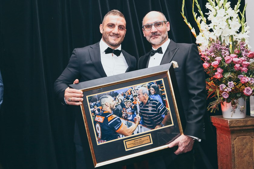 Robbie Farah and Wests Tigers Major Sponsor Lee Hagipantelis from Brydens Lawyers
