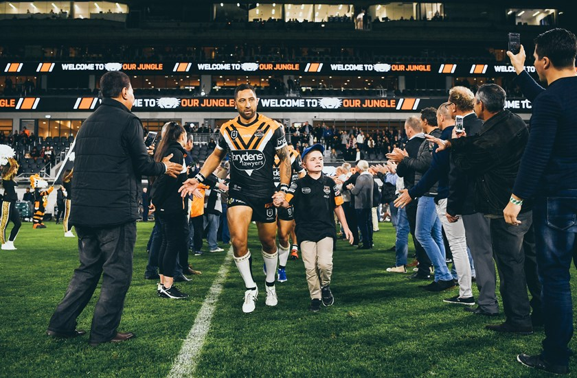 Benji Marshall leads Wests Tigers out at Bankwest Stadium