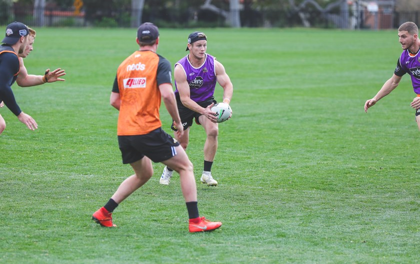 Wests Tigers hooker Harry Grant at training