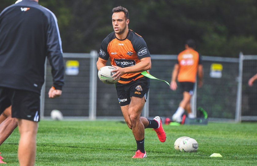 Luke Brooks in action at Wests Tigers training