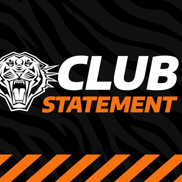 NRL and Wests Tigers statement on James Roberts